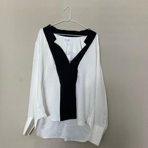 FRAME Contrast Inverted Notch Collar Silk Blouse
